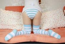 Hatsune Miku Sexy Leuke Blauwe En Witte Gestreepte/Roze En Wit Gestreepte Kniekousen, lolita Meisje Anime Vrouwen Coaplay Lange Sokken