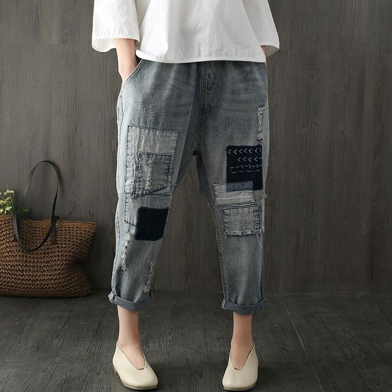 Calça jeans feminina solta de cintura, elástica, harém, patchwork, bordado, vintage, d111