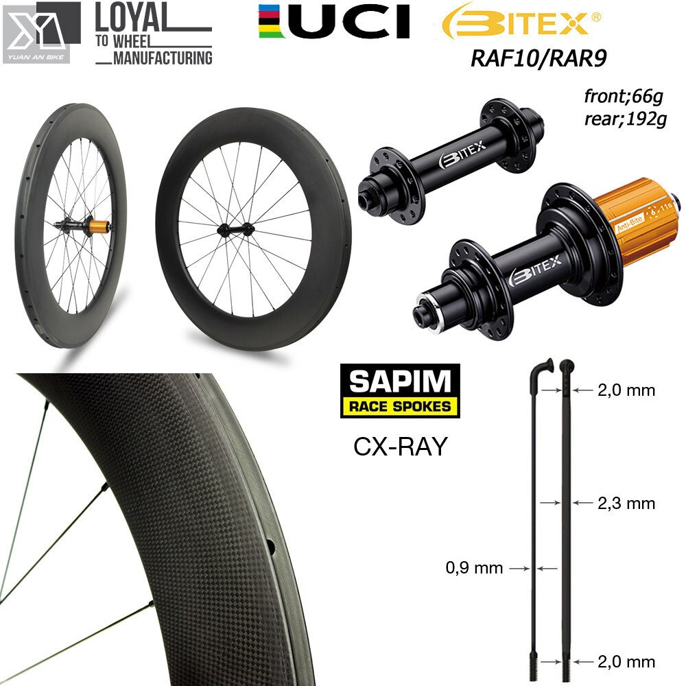 Ruedas para bicicleta de carretera, superligeras, de 700c, conjunto de ruedas de fibra de carbono de Japón 30 38 47 50 60 88 Clincher Tubular sin tubo con Sapim CXRay