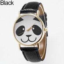 Montre-bracelet analogique à Quartz en simili cuir à cadran rond Panda