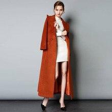 2019 automne hiver femmes européenne x-long mince laine mélange manteau avec ceinture femelle élégant épais laine veste chaude survêtement R43