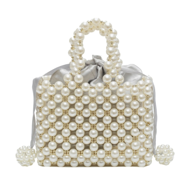 Perla de imitación pequeño bolso femenino Vintage barroco retro femenino bolso con asa de calidad mujeres 2019 novedad de verano moda Mini bolso con cuentas