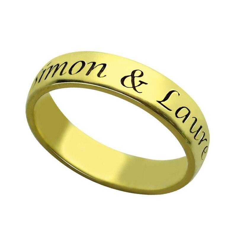 Anillo de compromiso con nombre personalizado, plata 925, letra personalizada, oro, grandes promesas, Anillos de joyería, regalos para mujeres, hombres, amantes, Anillos