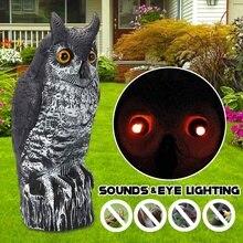 Elektrische Gefälschte Eule Lockvogel Pest Repellen Vogel Erschrecken Garten mit Sounds & Augen Beleuchtung Kunststoff Material Outdoor Jagd Decoy