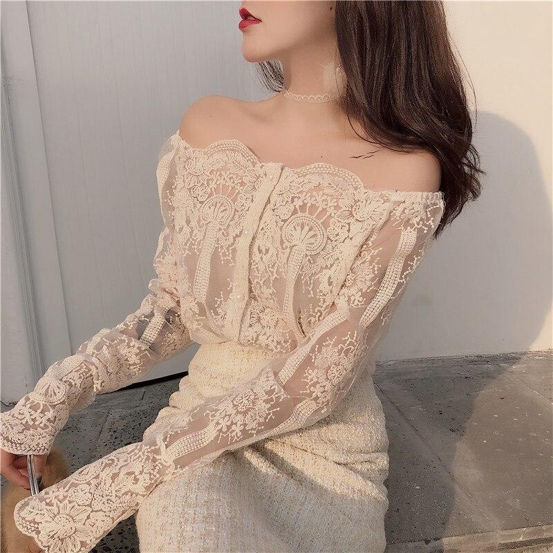 Новое поступление, женская мода, сексуальная Кружевная блуза с вырезом лодочкой, без бретелек, на бретельках, шикарный пуловер, узкая блуза-рубашка, женский кружевной топ с длинными рукавами