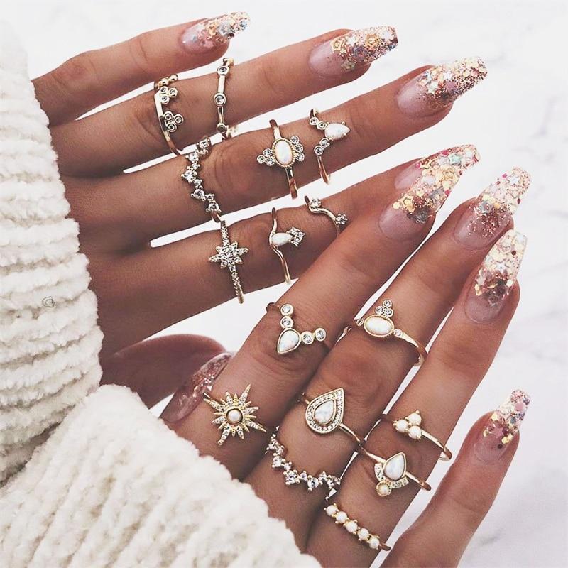 16 unids/set bohemio de gotas de agua a la moda corona estrellas gema redonda geometría cristal Irregular anillo de oro conjunto de mujeres encanto joyería regalo