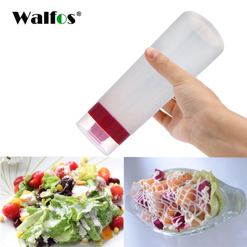 Dispensador de salsas de kétchup para barbacoa WALFOS, botella dispensadora de aceite de oliva, bote exprimidor de mayonesa con tapa de plástico seguro