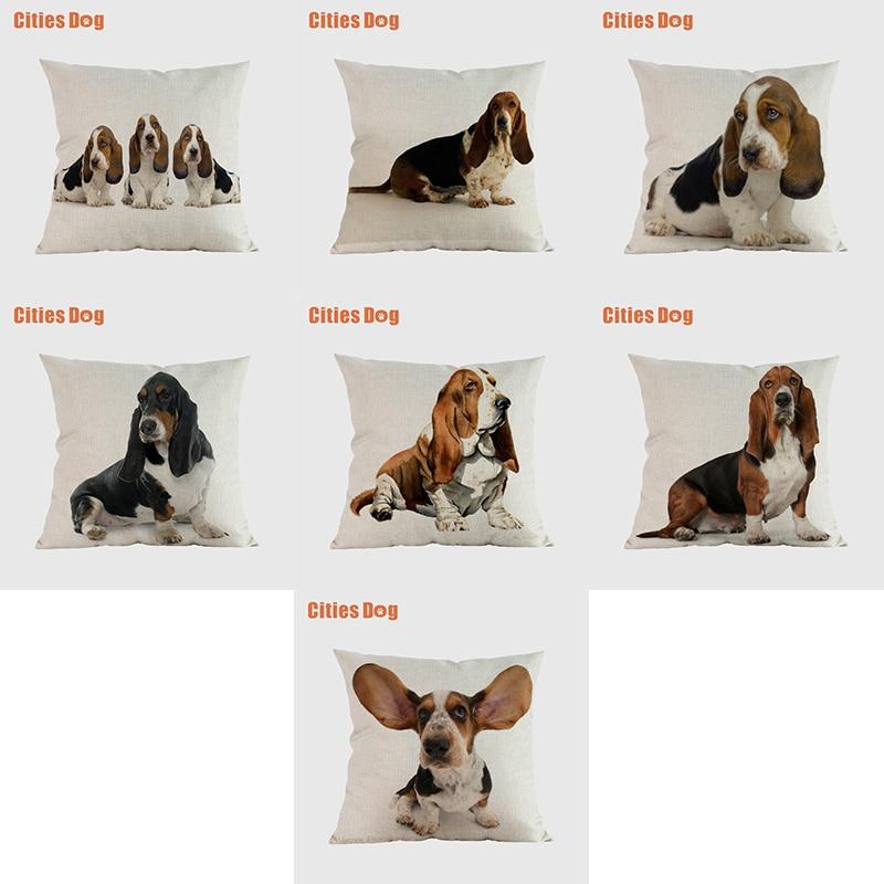 Basset Собака Декоративные Чехлы для подушек чехлы для диванов подушки животные Basset Hound наволочки с изображением собак чехлы на подушки для до...