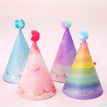Kinder Geburtstag Caps Decor Kinder Neugeborenen Regenbogen DIY Nette Glitter Anzahl Papier Party Hüte Geburtstag Schleier Caps Baby Dusche