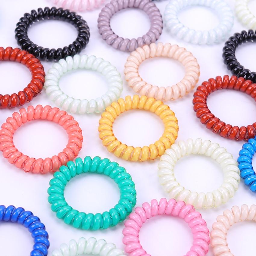 5PCS Cute Candy Color Hair Headbands Telephone Line Hair Elastics Hair Bands Girls Ponytail Holder Rubber Bands Hair Accessories