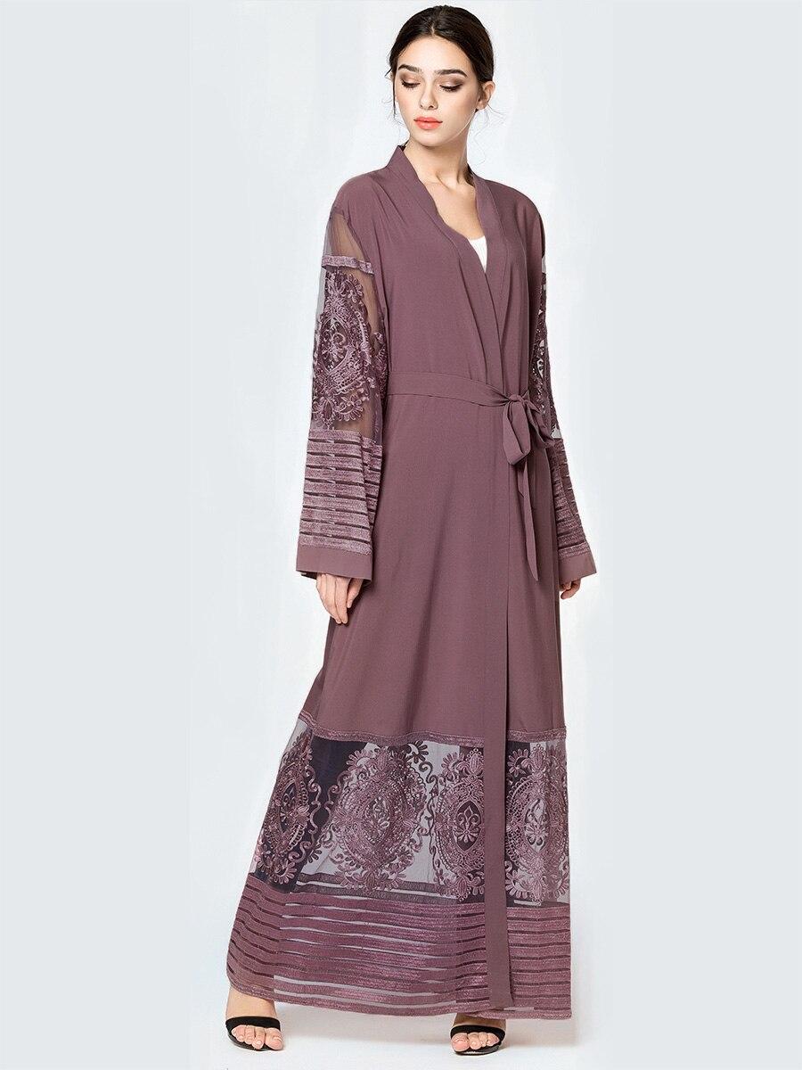 Moda mujer Abaya bordado malla vestido largo musulmán Kaftan marroquí Dubai Saudí Arabia ropa islámica al por mayor