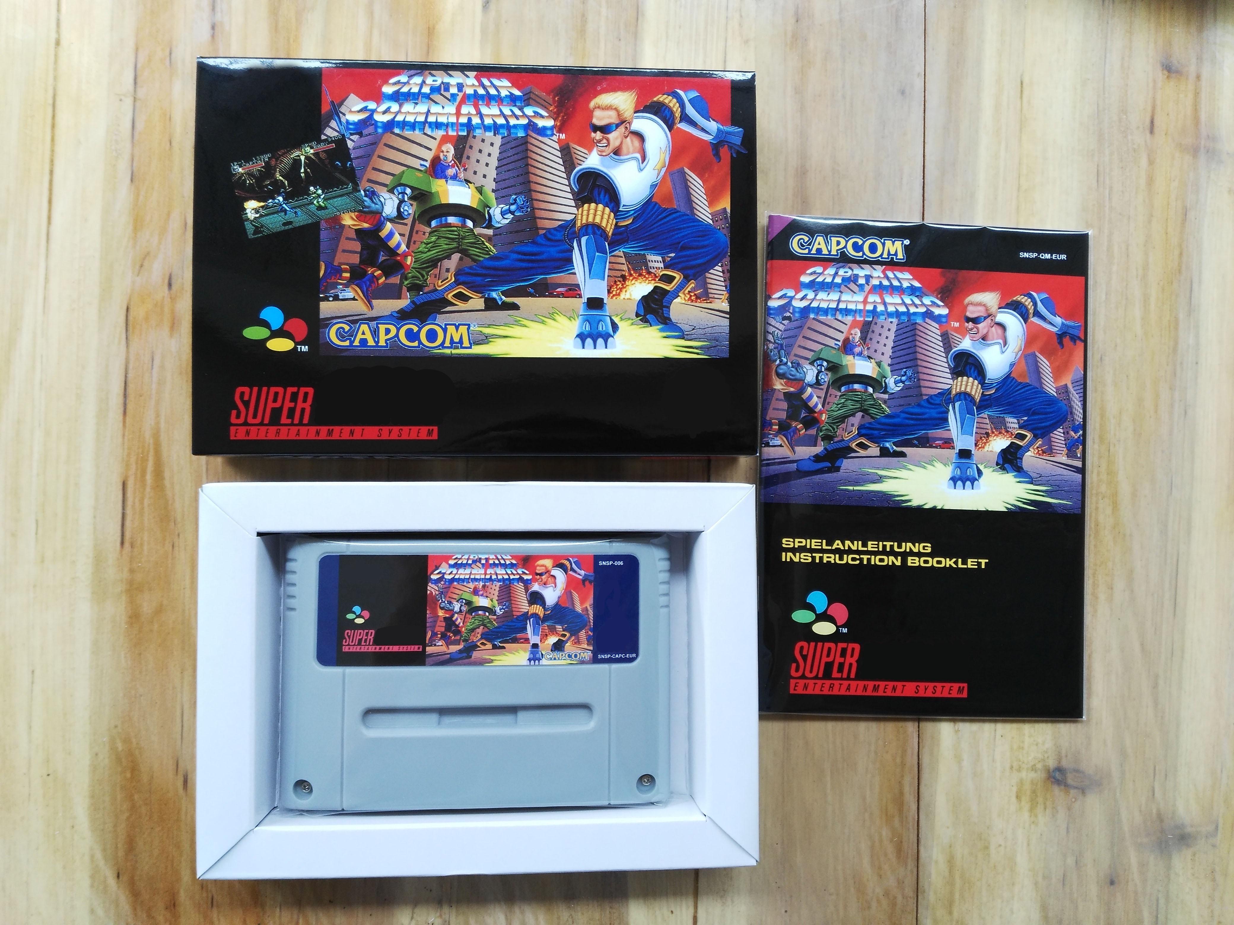 16 bits juegos ** capitán COMMANDO (¡Versión de EUR PAL! Caja + Manual + cartucho!)