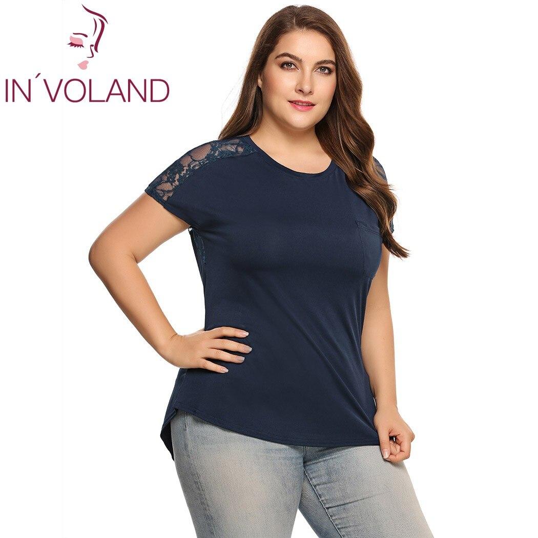 Женская футболка INVOLAND, летняя футболка большого размера с коротким рукавом и о-вырезом