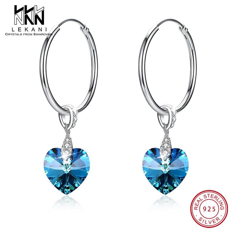 Pendientes de aro Cristal de Swarovski con forma de corazón para mujer, pendientes de plata 925 salvajes con personalidad, regalos de compromiso