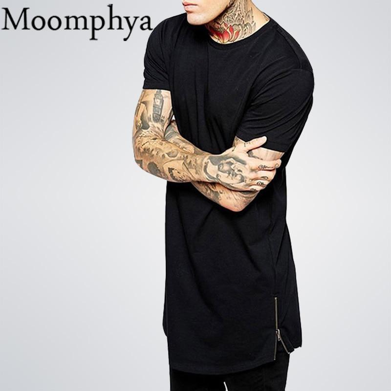 2016 Long Size Black Mens Tops T Shirt Short Sleeve Casual T-Shirt With Zip Hip Hop Sale T Shirt Fashion street-wear Shirt dance