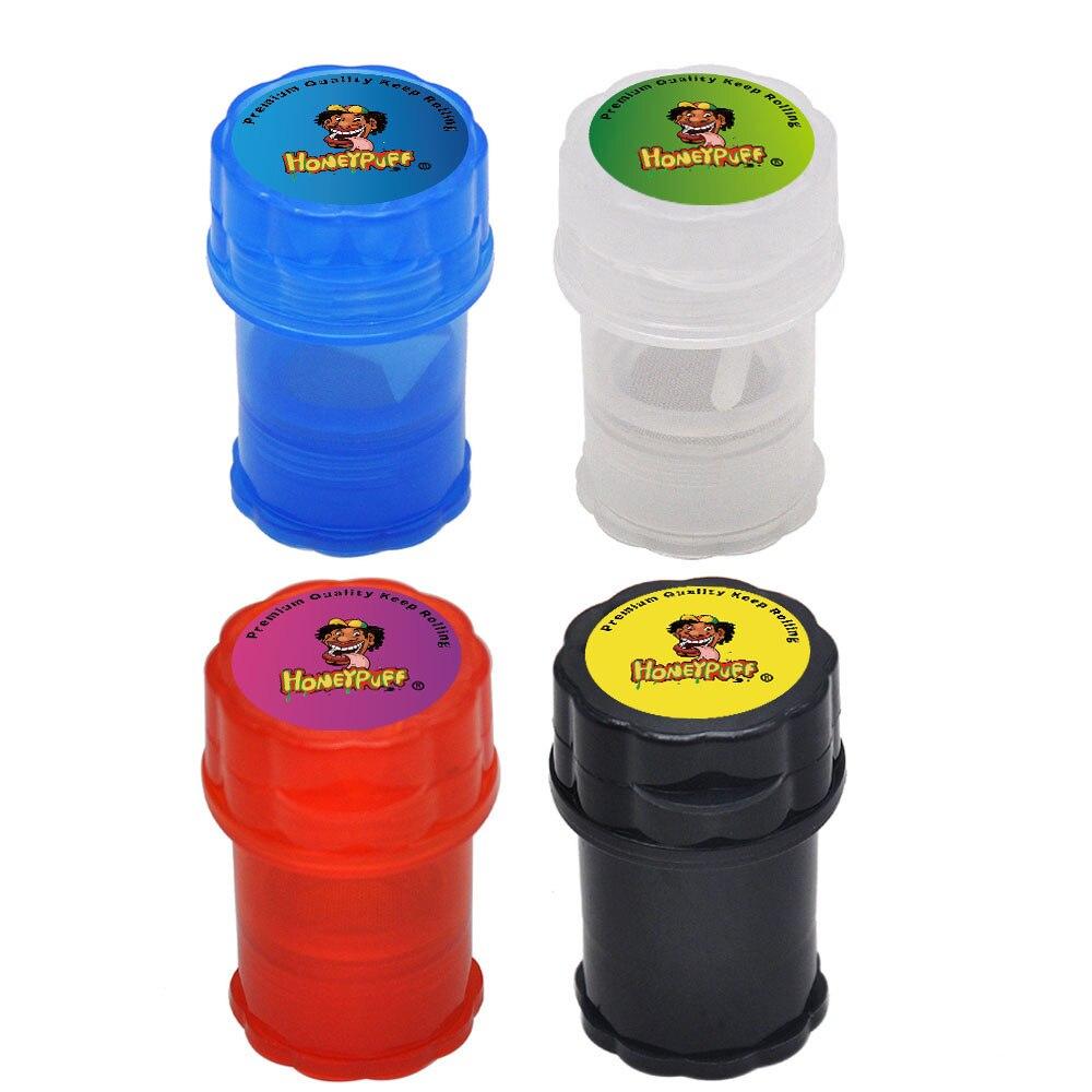 HONEYPUFF пластиковая табачная Трава мельница для размола пряностей 40 мм 4 слоя с острыми зубами акулы hp Strike контейнер для хранения дробилка