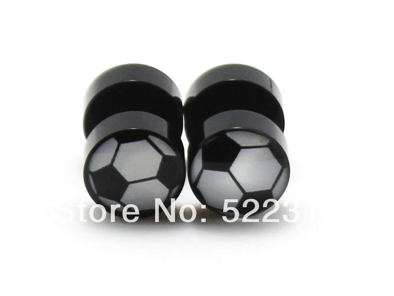 Frete grátis piercing corpo jóias atacado 8mm venda quente preto acrílico futebol logotipo imagem brincos falsos orelha plug cheaters