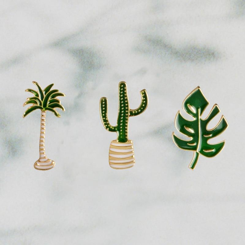 Verano desierto playa Cactus verde Palma planta con hojas árbol solapa Natural Pin esmalte broche Collar Pins Cactus regalo Cactus joyería