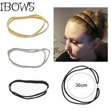 3 pz/lotto donne Glitter fascia elastica di alta qualità Bling doppio Hairband per le ragazze fascia dei capelli del cerchio accessori per capelli