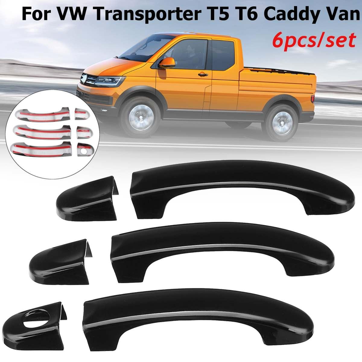 ABS 3/4, cubiertas de molduras para manija de puerta delantera de coche para VW Transporter T5 2003-2015/T6/Caddy/Vans, pegatina para puerta Exterior