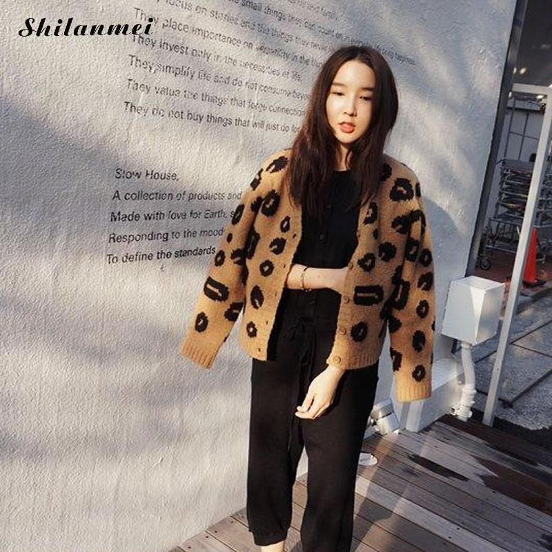 Mujer Otoño Invierno Leopard Cardigan suéter femenino de manga larga suelta de gran tamaño exterior Camel tejido abrigo Manteau Femme Hiver