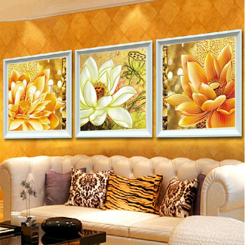 Full diamond embroidery flowers diy diamond painting Triptych lotus 3d square drill diamond mosaic icon paste full crafts D0429