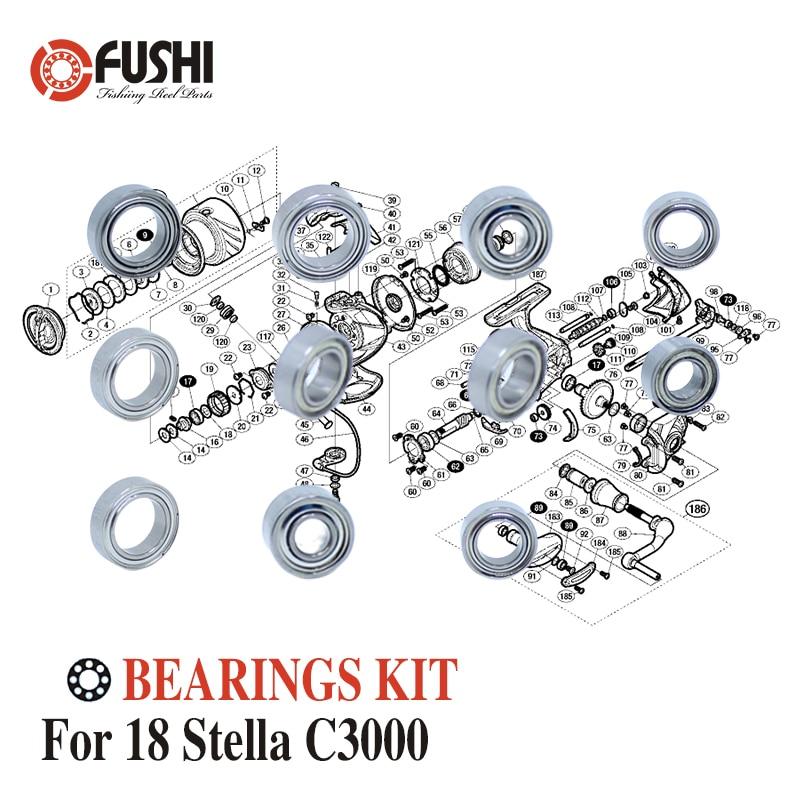 طقم محامل كروية من الفولاذ المقاوم للصدأ لـ Shimano 14 ، مجموعة محامل بكرة الصيد لـ yamaha C3000 ، C3000SDH ، C3000 X G
