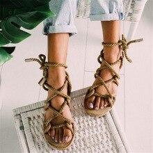 Boho femmes sandales à lacets 2019 chanvre corde Rome 2019 femmes sandales casual gladiateur croix liée femmes chaussures 35-43