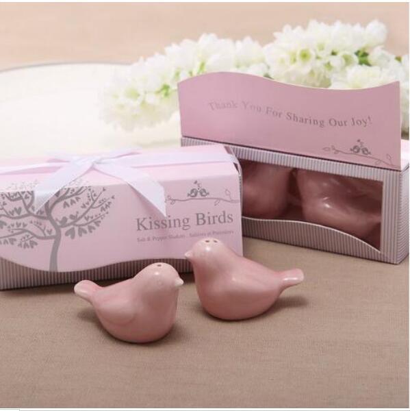Envío Gratis, superventas, 400 unids/lote = 200 set/lote, los más nuevos recuerdos de boda, salero pimentero pájaro del amor regalo de boda de cerámica regalo