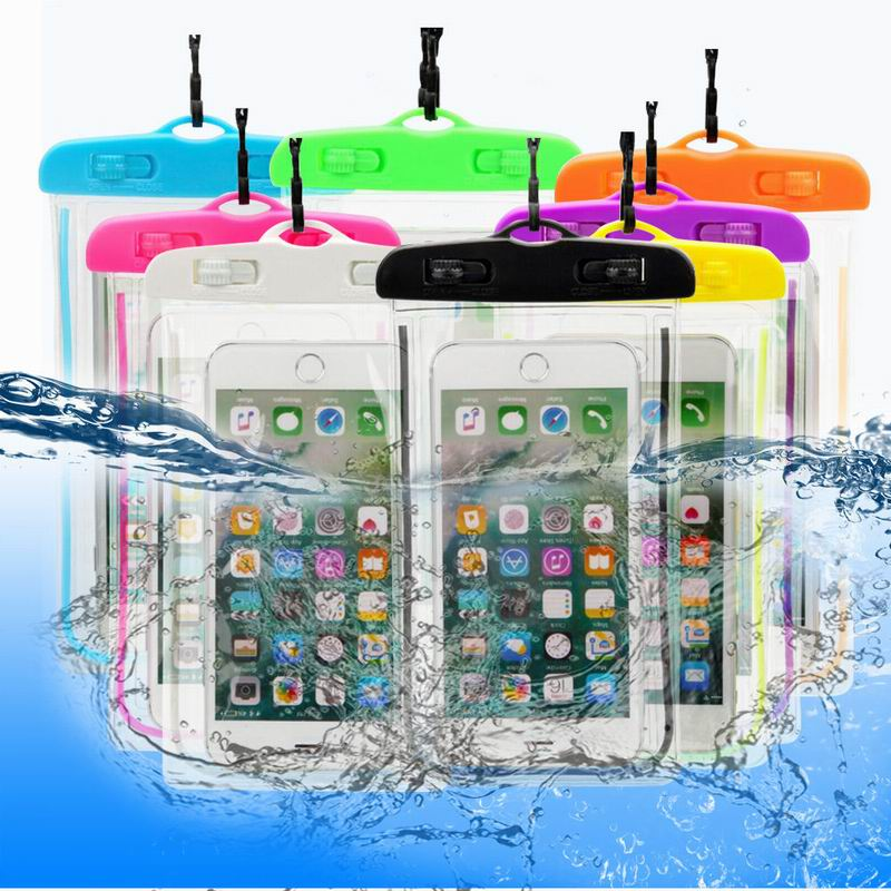 Transparente bolsa seca Universal luminoso impermeable funda de teléfono móvil con bolsa para iPhone X XS X MAX XR 5 5S 6 6S 7 7 Plus para Samsung