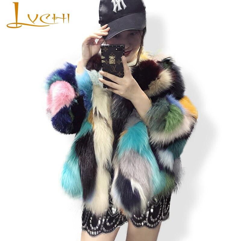LVCHI Women's coats Sweet style elegant Natural Fox fur Wide-waisted Fashion Colorful fur coat form real fox Women's clothing