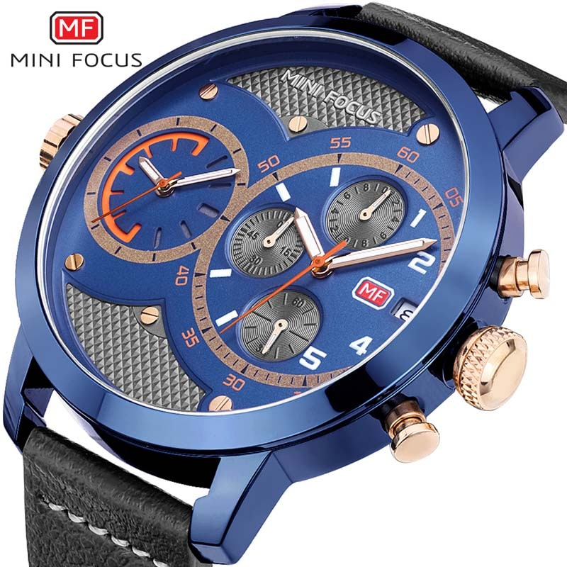 Mens Watches Top Brand Luxury Waterproof Chronograph Military Big Dial Wrist Watch Leather Sport Wrist Watch Men Clock