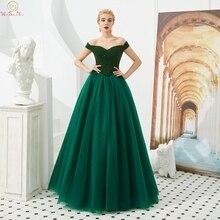 2019 Hunter vert une ligne robes de soirée col bateau luxueux perles formel élégant hors de lépaule longues robes robe de soirée