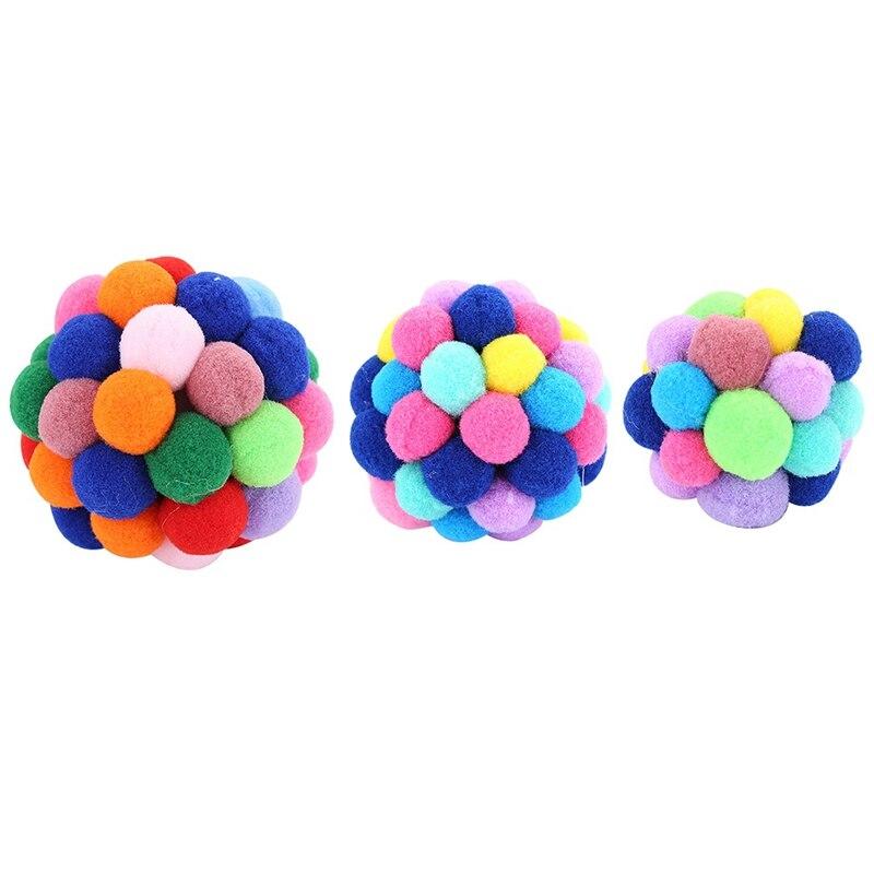 Gatos Bola de colores hecho a mano campanas de pelota incorporado gato interactivo juguete de interior al aire libre de los gatos de formación pelota de ejercicio
