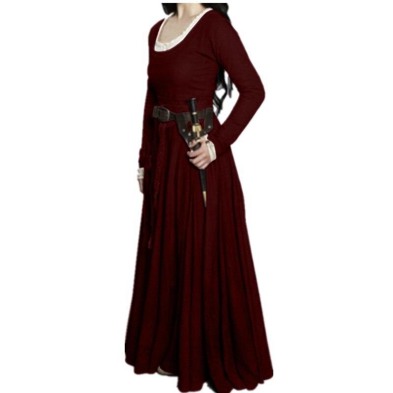 Vintage Vestido de manga larga renacimiento Medieval Vintage vendaje Mujer Campesina vestidos de chica Vestido de manga larga talla grande 5xl
