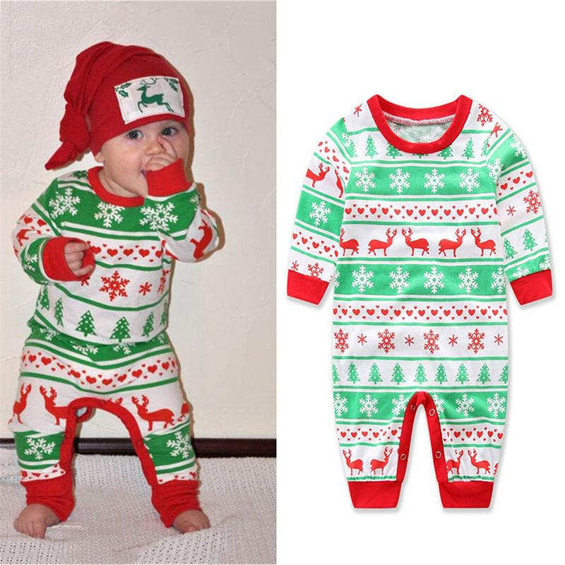 Для маленьких мальчиков девушка Рождество Ползунки снежинка с длинными рукавами