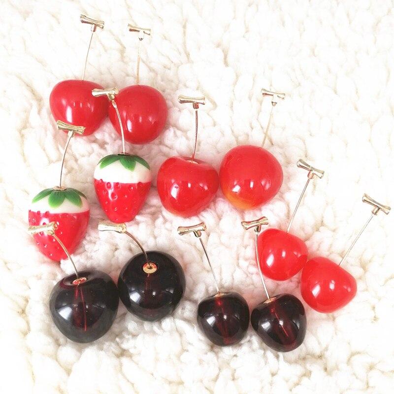 Pendientes colgantes adorables largo de moda, regalo para niñas, joyería de Corea, pendientes sencillos de cereza y fruta roja para mujeres, Pendientes colgantes con borla