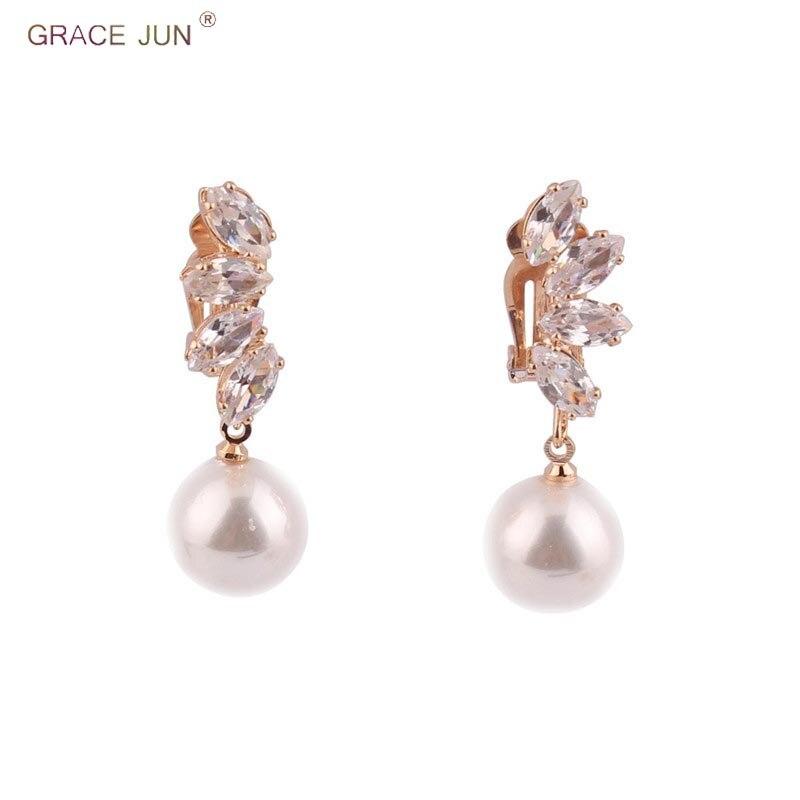 GRACE JUN Clip on Earrings No Pierced for Women Fashion Korea Style AAA CZ Pearl Earrings No Ear Hole Earrings Best Jewelry Gift
