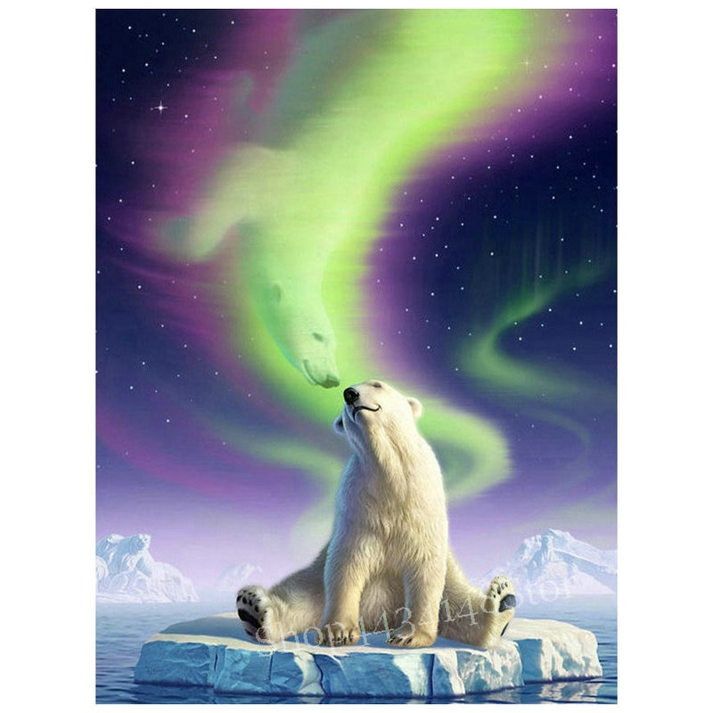 5d diy diamond painting bear aurora borealis scenery animal diamond embroidery sewing art full square / round diamond mosaic