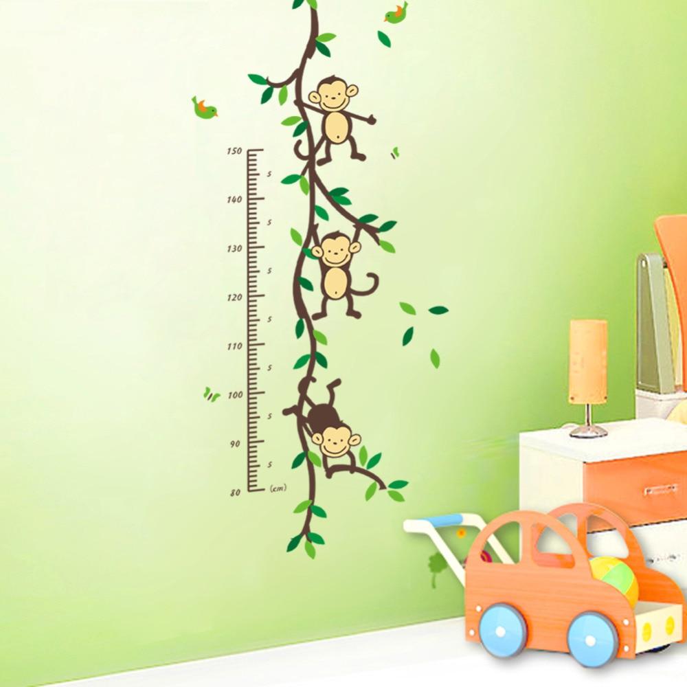 Zoo Yoo Playing Jungle Monkey Tree Height Wall Art Stickers Nursery Decor Kids Height Chart Measure