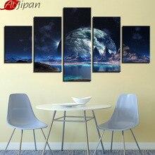 AtFipan قماش الملصقات ديكور المنزل جدار الفن 5 قطع القمر المرصعة بالنجوم السماء الجبلية بحيرة لوحات القمر مجردة إطار الصور