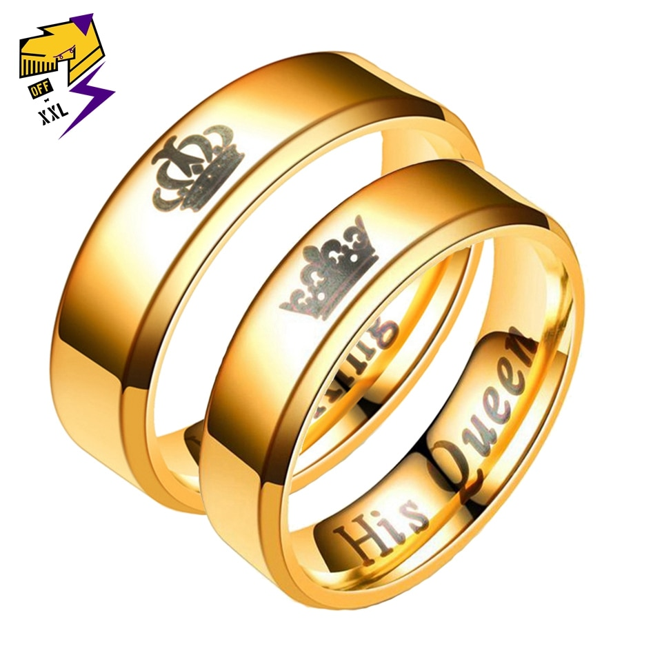 Anillo con letra de su Reina, su rey, pareja para mujeres y hombres, anillos de dedo de acero inoxidable para enamorados, regalo de Pomise, joyería de moda de Alianza