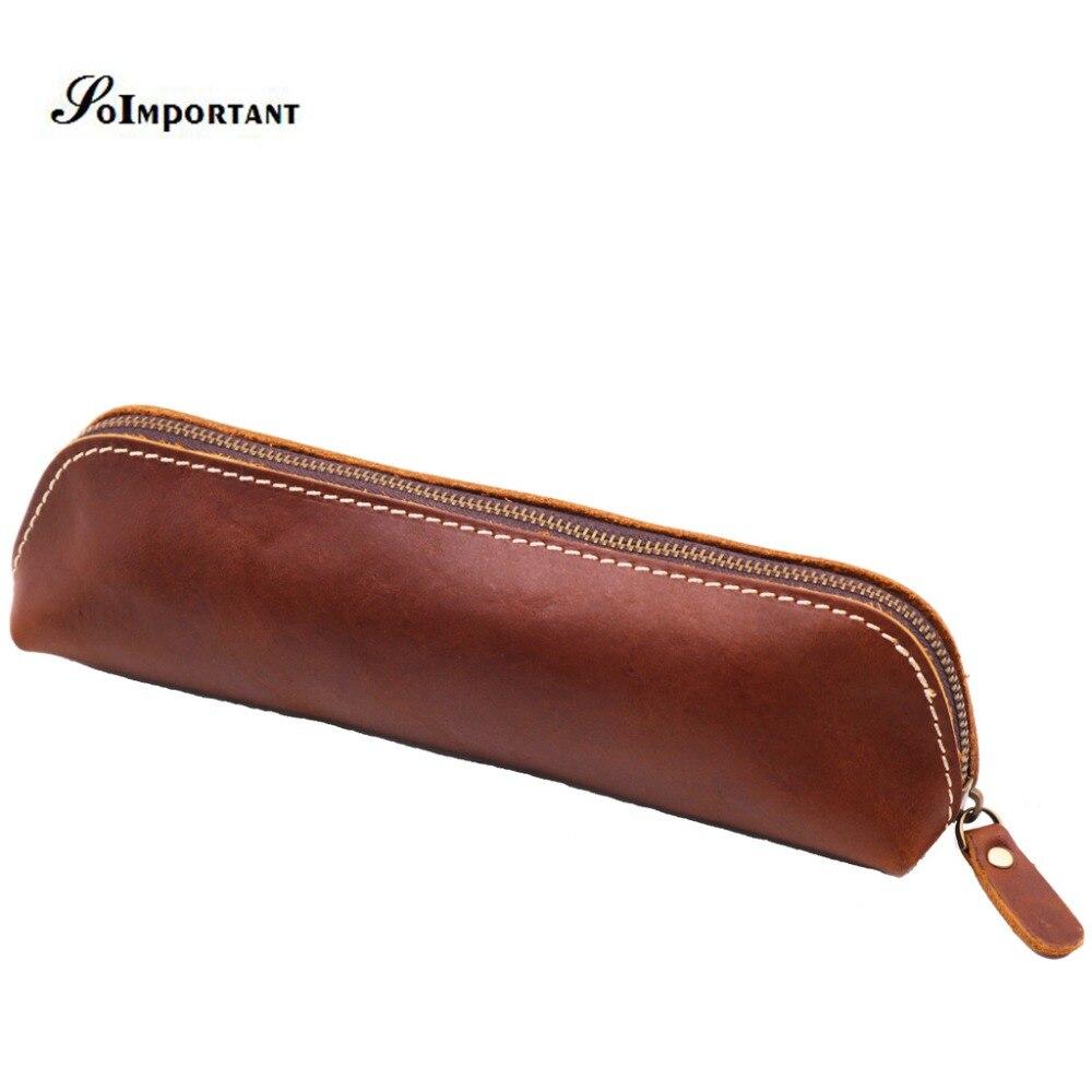 Handmade Vintage Pen Pencil Bags Case Pouch Pocket Genuine Cow Leather Men Wallets Male Coin Purse Zipper Tool Organizer Purse