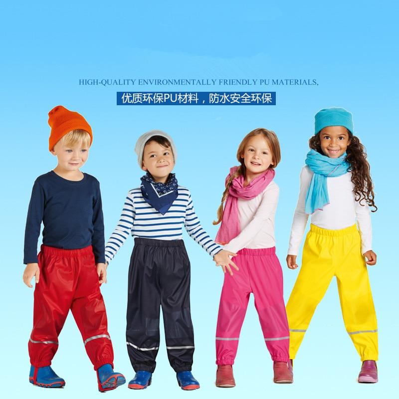 Новые детские непромокаемые штаны из искусственной кожи на весну и осень, водонепроницаемые и ветронепроницаемые штаны для мальчиков и дев...