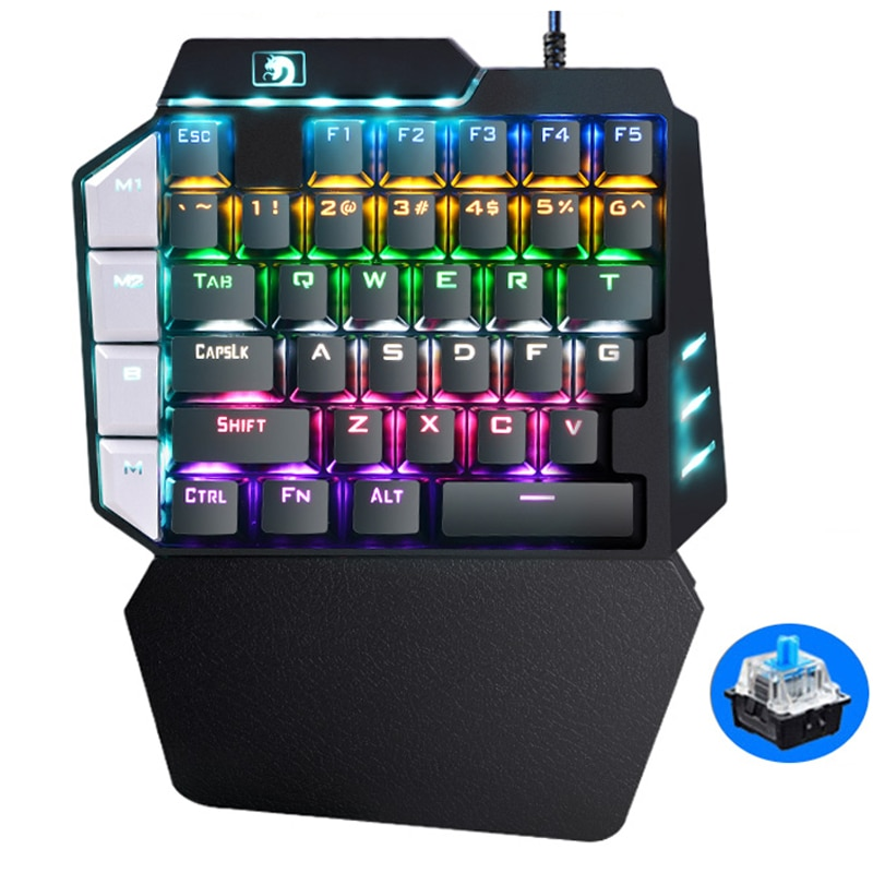لوحة مفاتيح للألعاب بيد واحدة لوحة مفاتيح ميكانيكية لألعاب الهواتف المحمولة PUGB لوحة مفاتيح لليسار كمبيوتر محمول ألعاب + ماوس ألعاب للاعبين