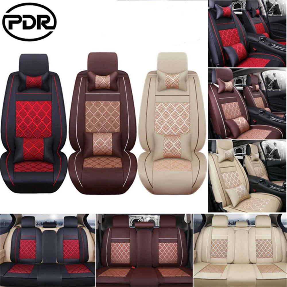 GLCC housse de coussin en polyuréthane synthétique   Siège de auto en polyuréthane, accessoires universels de siège complet de voiture en soie glacée tapis de coussin
