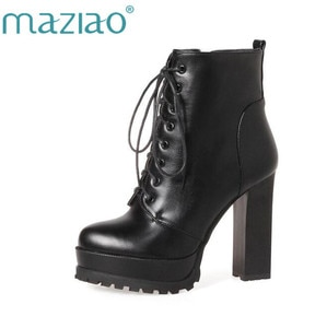 MAZIAO 2019 Women Ankle Boots Square High Heel Lace Up Roued Toe Women Platform Black Ladies Motorcycle Boots Size 33-43