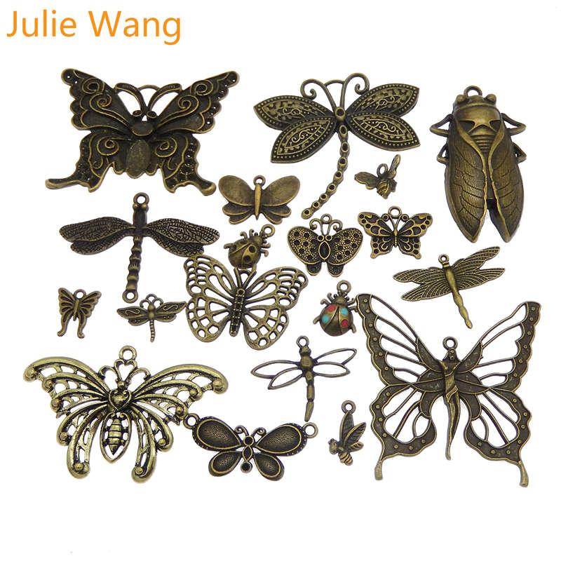 Julie Wang 10 шт случайно микс Бабочка Стрекоза Подвески сплав насекомое Античный цвет ожерелье браслет Изготовление ювелирных изделий