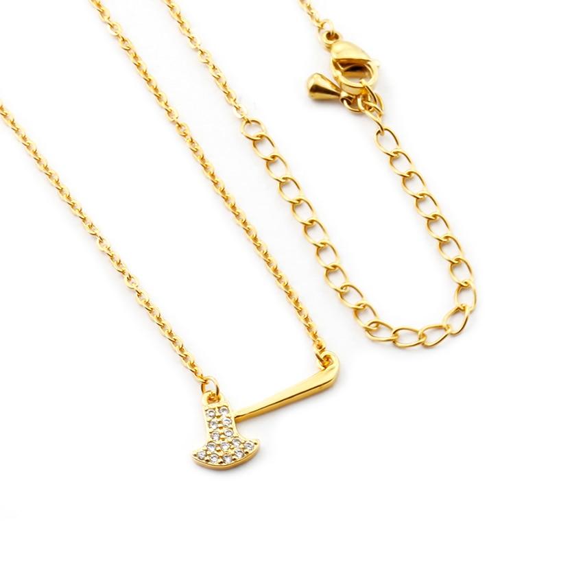 New Fashion Women Micro Pave Cubic Zirconia Axe Necklace Chain Glitter Hatchet Pendants Necklaces Men Friendship Jewelry