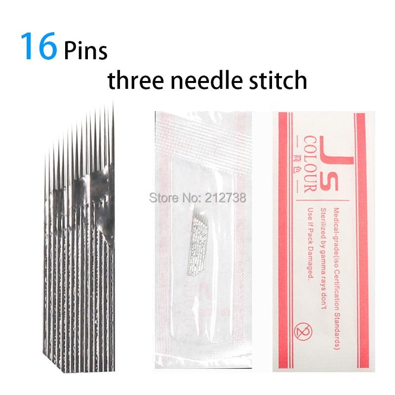 3 linha 16 agulha permanente maquiagem sobrancelha tatoo lâmina microblading agulhas para 3d bordado manual tatuagem caneta Machine-B5